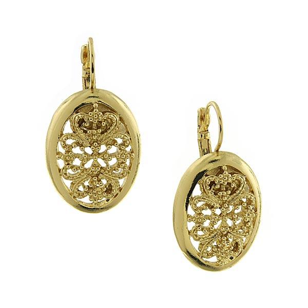 Vintage Lace Gold-Tone Oval Filigree Drop Earrings