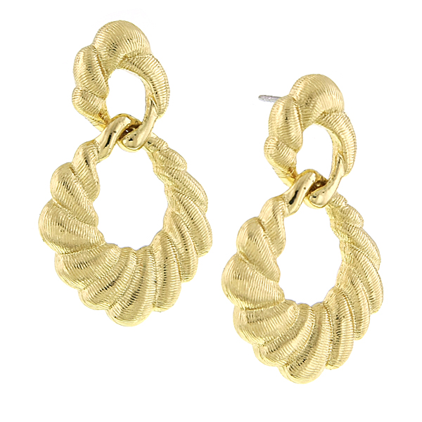 Signature Gold-Tone Textured Drop Earrings