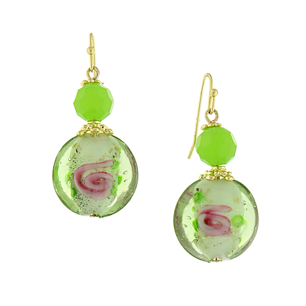 Confetti Gold-Tone Green Bead Drop Earrings