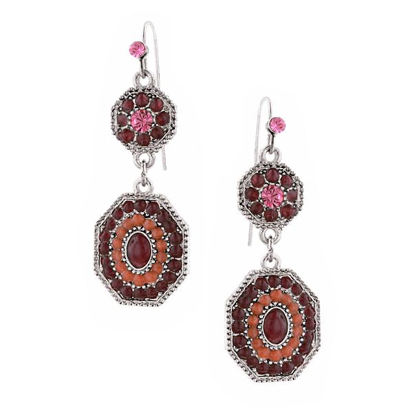 2028 Sangria Silver-Tone Purple Enamel Drop Earrings