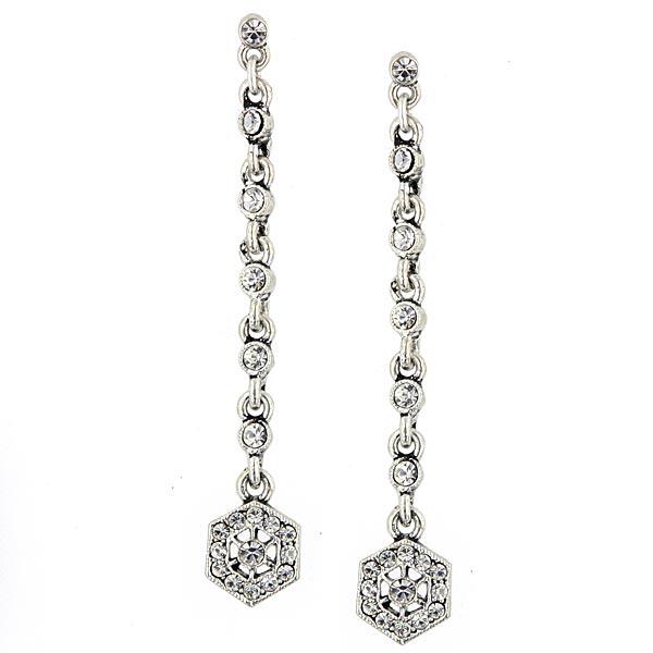 Tzarina Silver Tone and Crystal Linear Drop Earrings