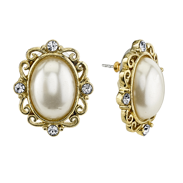Gold-Tone Faux Pearl and Crystal Oval Button Earrings