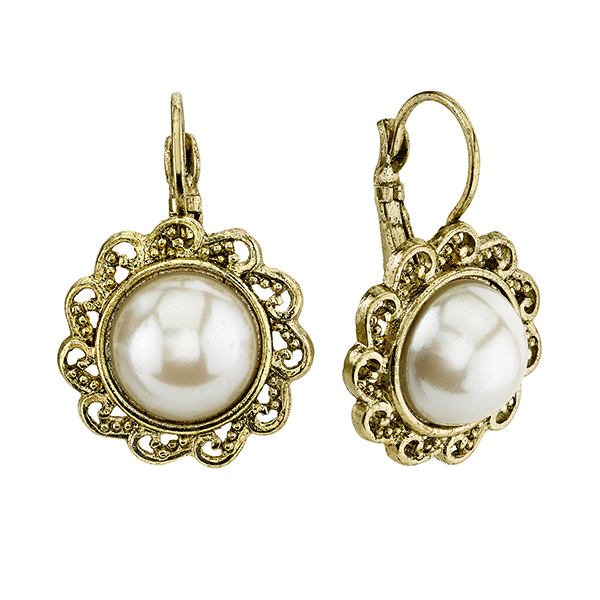 Gold-Tone Faux Pearl Round Drop Earrings