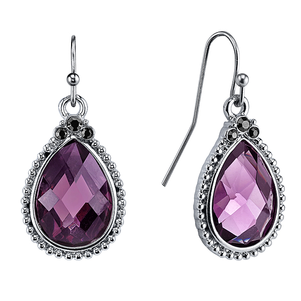 Radiant Orchid Silver-Tone Purple Teardrop Earrings