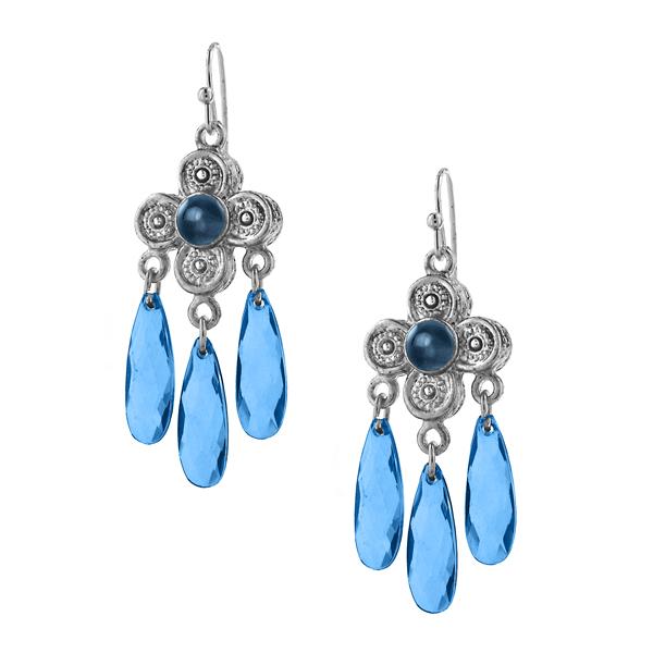 2028 Silver-Tone Blue Flower Chandelier Earrings