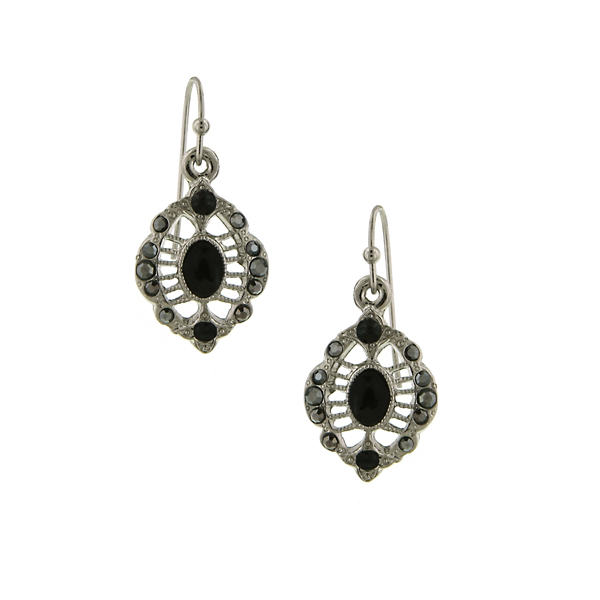 2028 Marcasite Oval Filigree Earrings