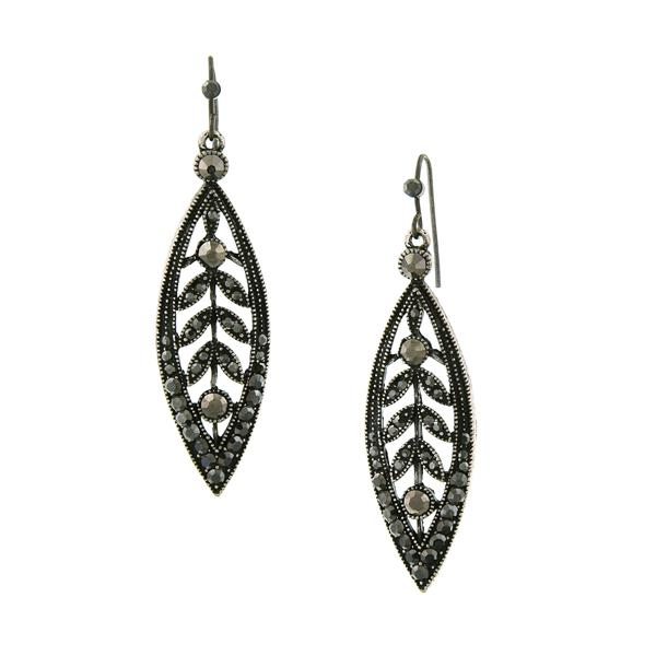 2028 Marcasite Caged Leaf Drop Earrings