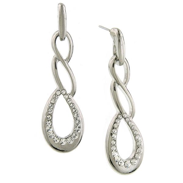 Signature Silver-Tone Crystal Twist Drop Earrings