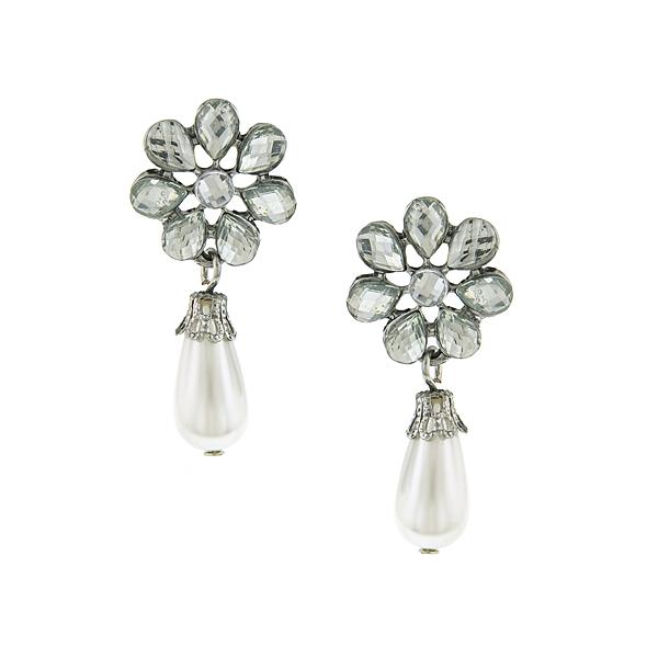Silver-Tone Crystal Flower Simulated Pearl Drop Earrings