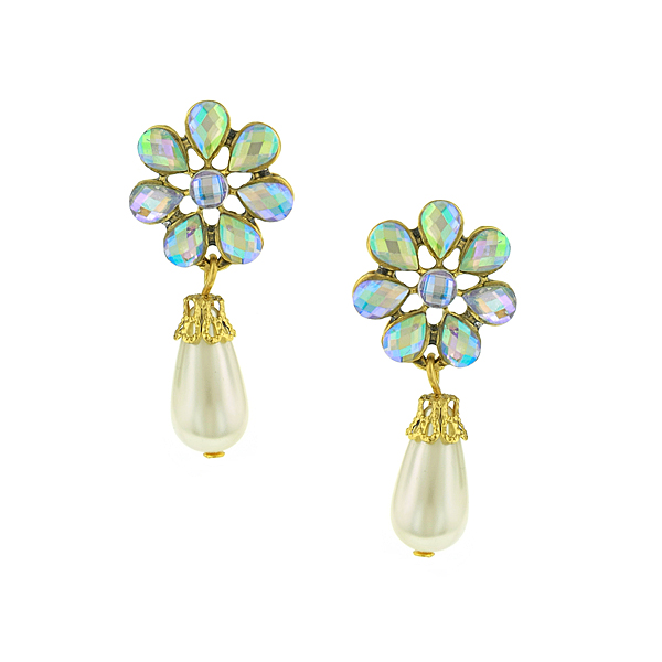 Gold-Tone Aurora Borealis Crystal Flower Simulated Pearl Drop Earrings