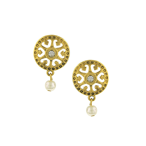 Gold-Tone Filigree and Simulated Pearl Drop Earrings