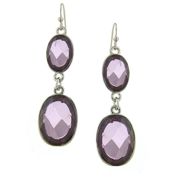 Bejeweled Lavender Oval Drop Earrings