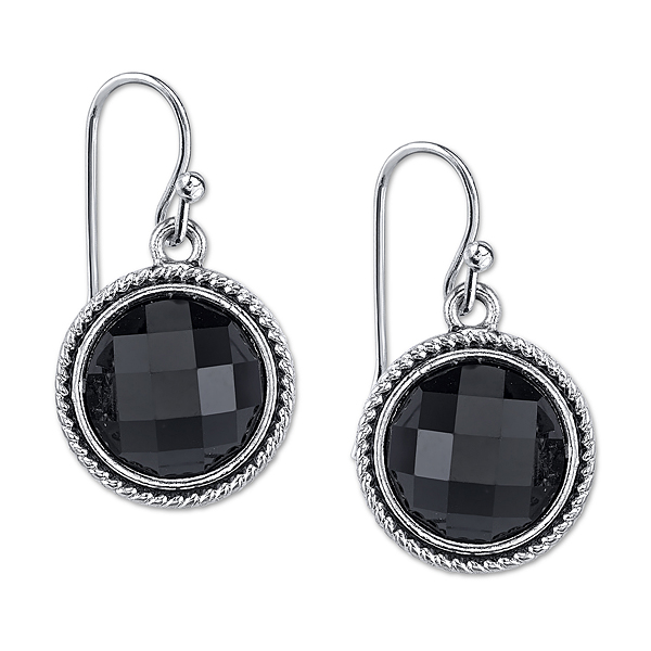 Silver-Tone Black Faceted Round Drop Earrings