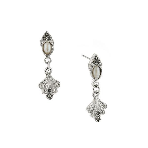 Silver-Tone Faux Pearl Fan Drop Earrings