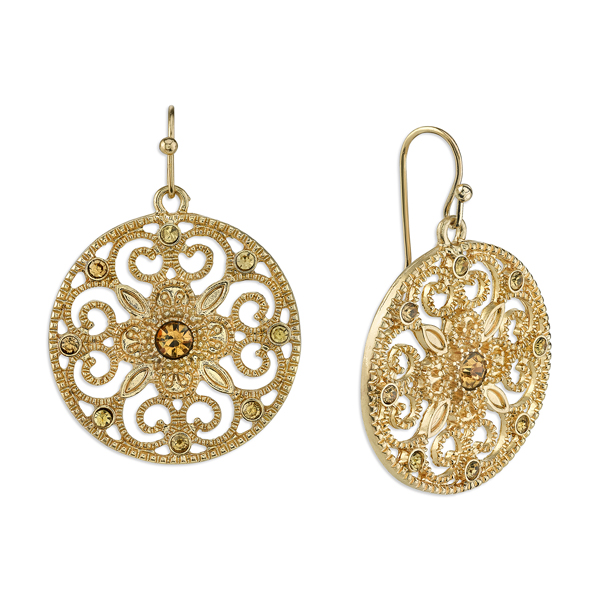 Gold-Tone Light Topaz Crystal Round Filigree Drop Earrings