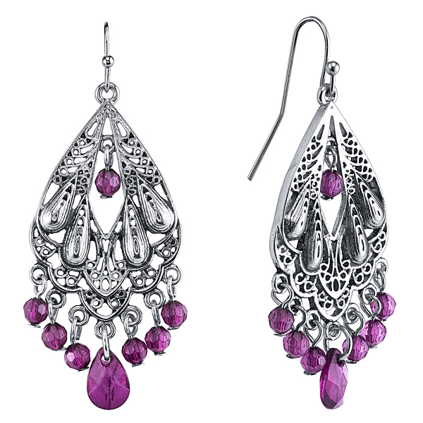 Radiant Orchid Silver-Tone Purple Chandelier Earrings