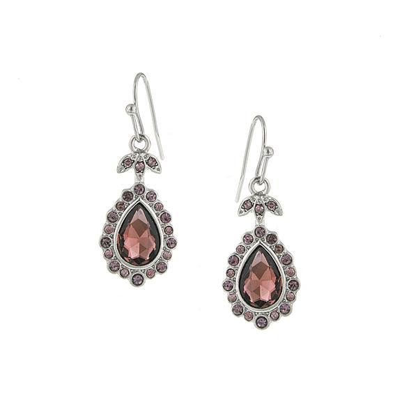Amethyst Crystal Pear Drop Earrings