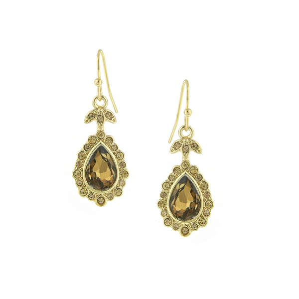 2028 Gold-Tone Light Brown Crystal Pear-Shaped Drop Earrings