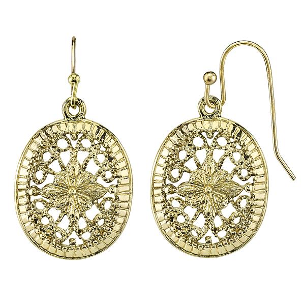 Golden Summer Gold-Tone Filigree Oval Drop Earrings