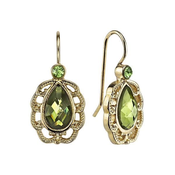 Gold-Tone Green Filigree Small Pear-Shaped Drop Earrings