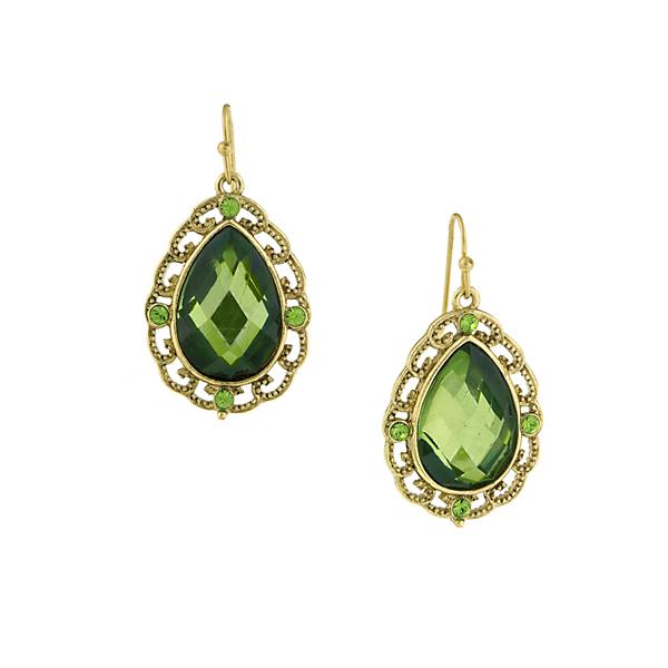 Green Lucite Teardrop Earrings