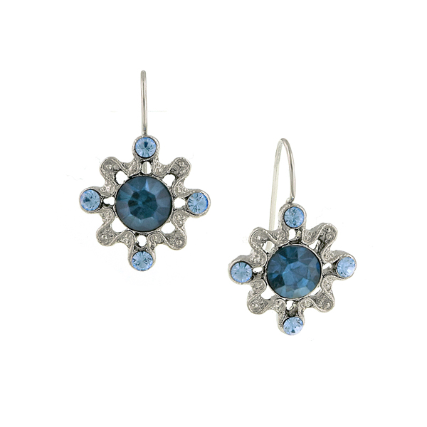 Silver-Tone Blue Small Filigree Drop Earrings