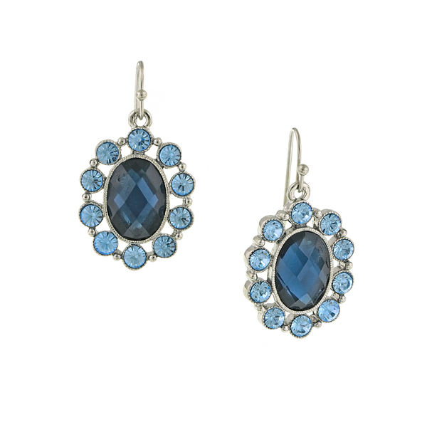 Silver-Tone Blue Oval Drop Earrings