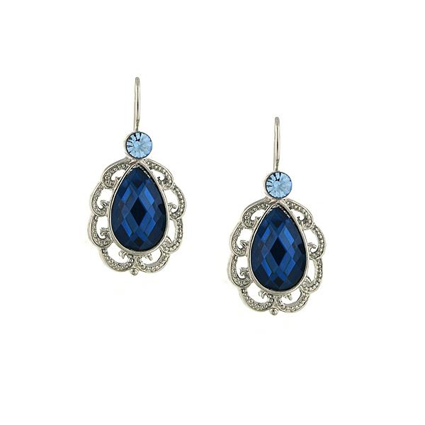 Silver-Tone Filigree Blue Petite Pear Drop Earrings
