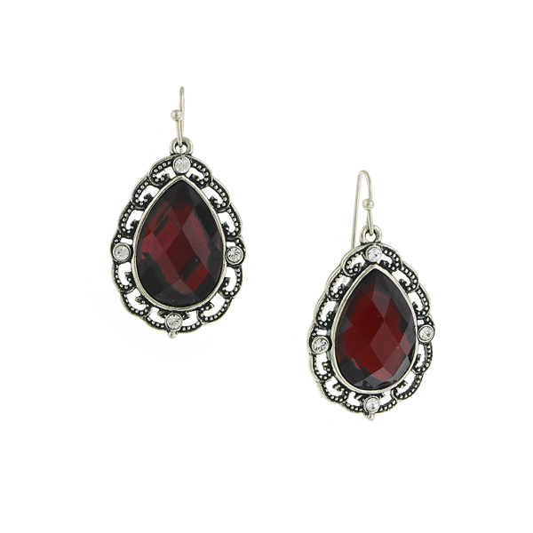 Red Siam Lucite Teardrop Earrings