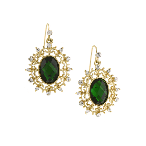 Gold-Tone Emerald Green and Crystal Oval Filigree Drop Earrings