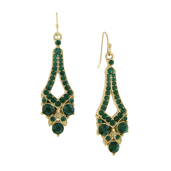 2028 Enjoli Emerald Green Tapered Drop Earrings