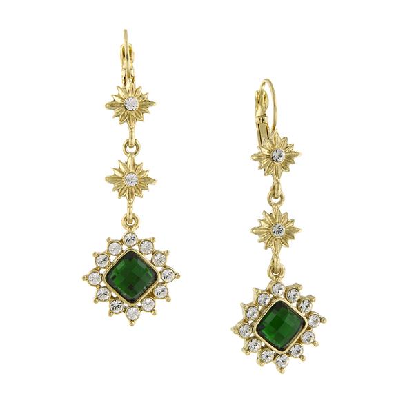 2028 Enjoli Emerald Jewel Starburst Dangle Earrings