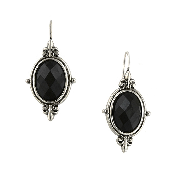 Silver-Tone Black Faceted Oval Drop Earrings