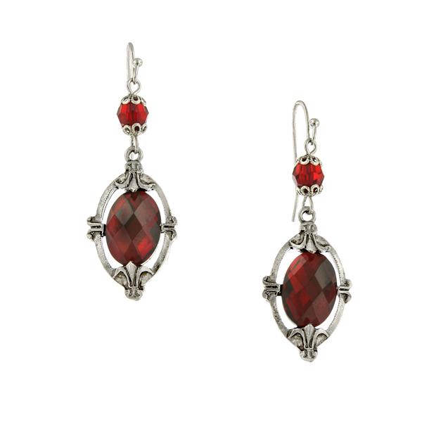 Silver-Tone Framed Red Oval Drop Earrings