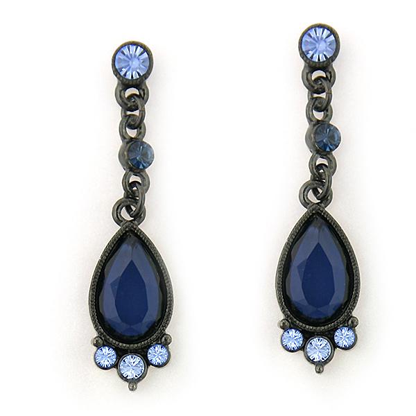 Jet-Tone Blue Teardrop Earrings