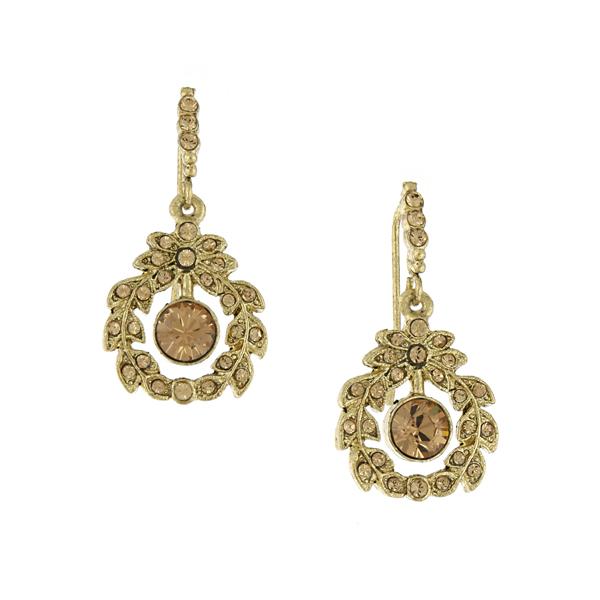 Signature Gold-Tone Light Topaz Crystal Drop Earrings
