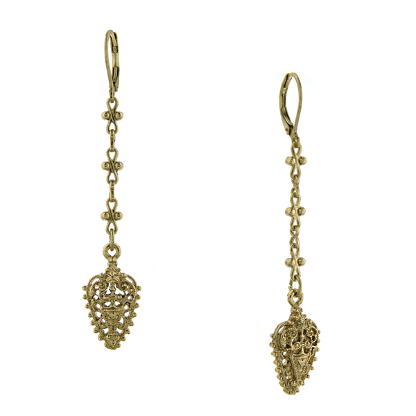 Signature Gold-Tone Filigree Linear Earrings