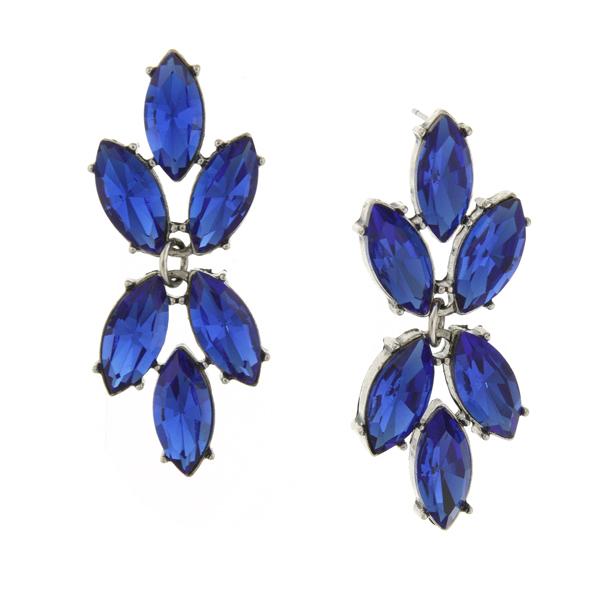 2028 Silver-Tone Sapphire Blue Navette Cluster Drop Earrings