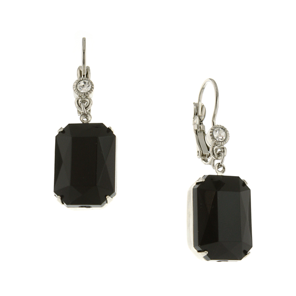 Silver-Tone Black and Crystal Octagon Drop Earrings