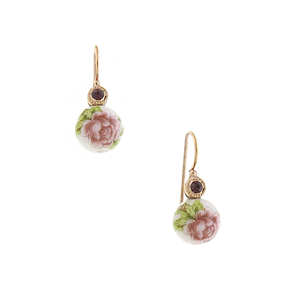 Manor House Rose Gold-Tone Floral Bead Drop Earrings