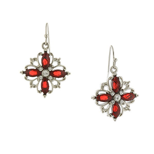 Silver-Tone Red and Crystal Open Work Cluster Drop Earrings