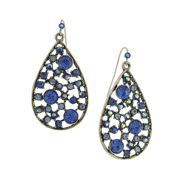 Silver-Tone Blue Open Work Multi-Stone Teardrop Earrings