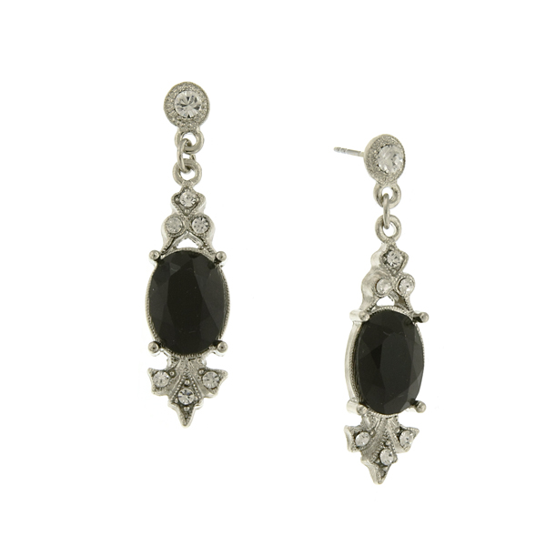 Silver-Tone Black and Crystal Edwardian-Inspired Drop Earrings