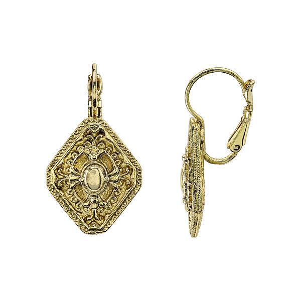 Signature Gold-Tone Diamond-Shaped Drop Earrings