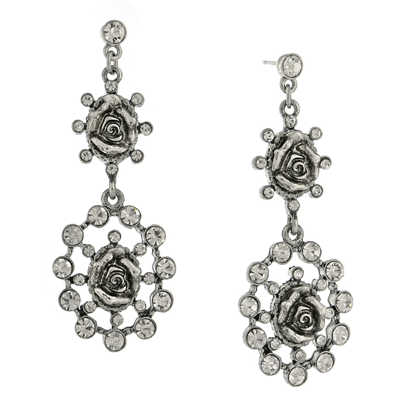 Signature Silver-Tone Crystal Flower Double Drop Earrings