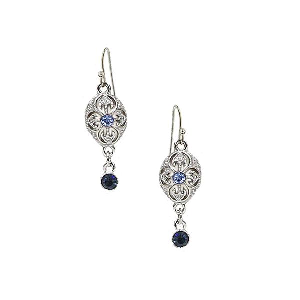 Signature Silver-Tone Blue Flower Bead Drop Earrings