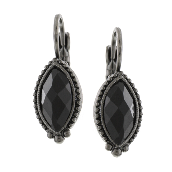 Signature Jet-Tone Black Marquise Drop Earrings