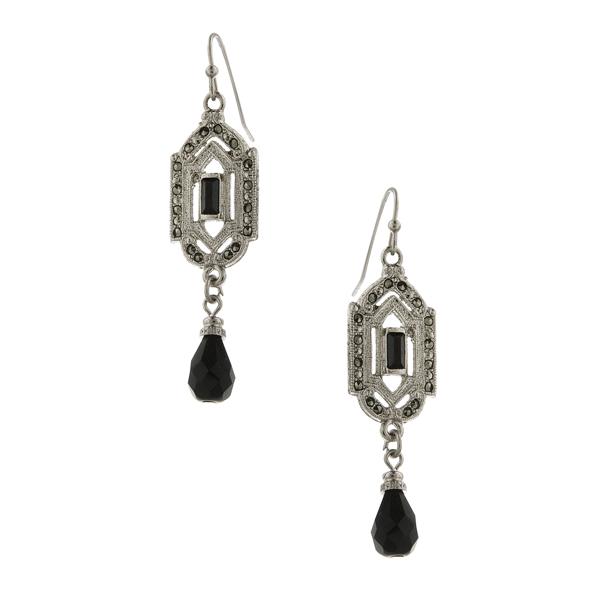 Signature Silver-Tone Marcasite and Black Art Deco Drop Earrings