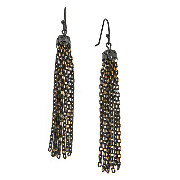 Signature Jet and Gold-Tone Chain Tassel Drop Earrings