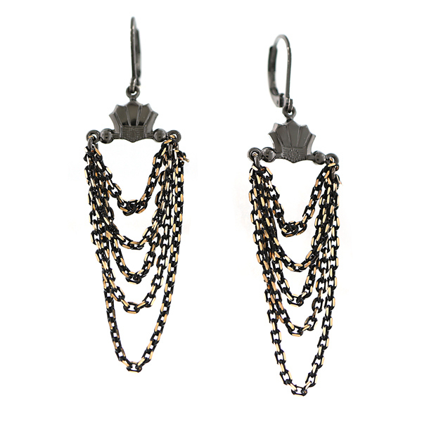 Signature Jet and Gold-Tone Chain Layered Drop Earrings